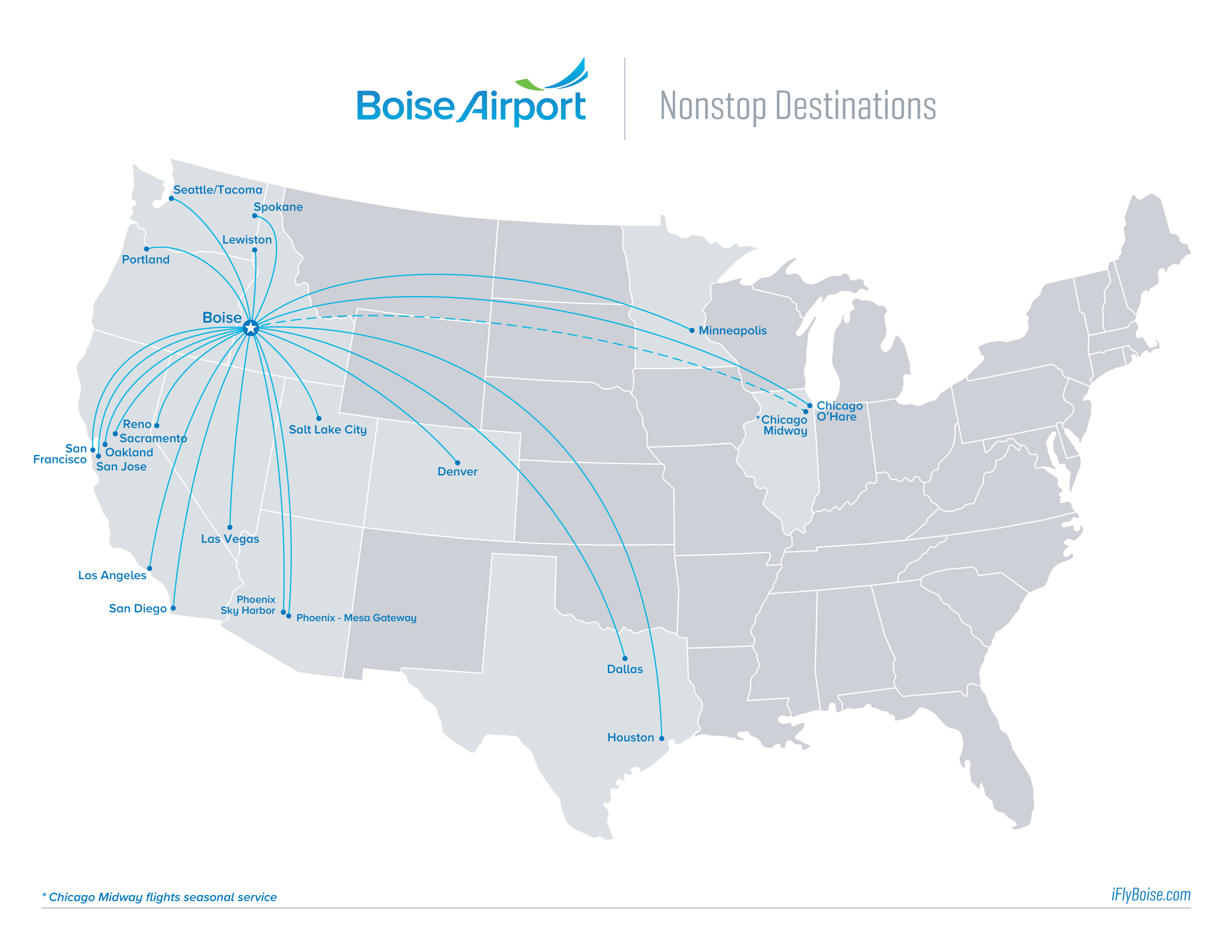 Nonstop Destinations City of Boise